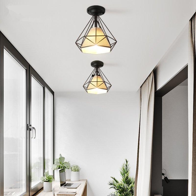 現代のダイヤモンド天井照明ヴィンテージ鉄ピラミッド天井リビングバーバルコニーキッチンの家の装飾 luminaria