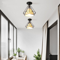 Nordic Simple Ceiling Lights Creative Vintage Iron Ceiling Lamp for Living Room Corridor Balcony Kitchen Home Lighting Decor