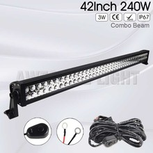 DE.SOUL 40inch 42inch 240w Double Rows car straight IP67 waterproof Combo Beam 4×4 LED light bar offroad