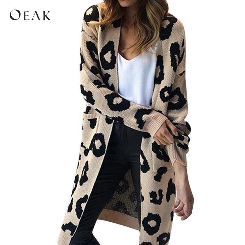 OEAK леопардовым принтом длинный кардиган Для женщин 2018 осень зима Открыть стежка трикотажные свитера Кардиган Повседневное черный, розовый джемпер пальто