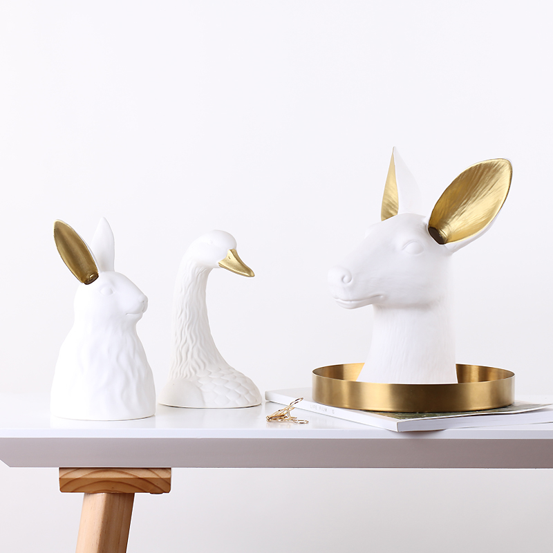 Nordic Home Decoration Ceramic Swan Rabbit Deer Collectible Figurines For Table Vanity Office Desk Party Living Room Accessories