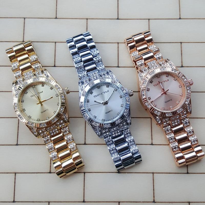 1Pcs/Lot New Women's Fashion SFNY Brand Watch Stainless Steel Three Eyes Dial Quartz Wrist Watch Luxury Ladies Watch Men's Watch