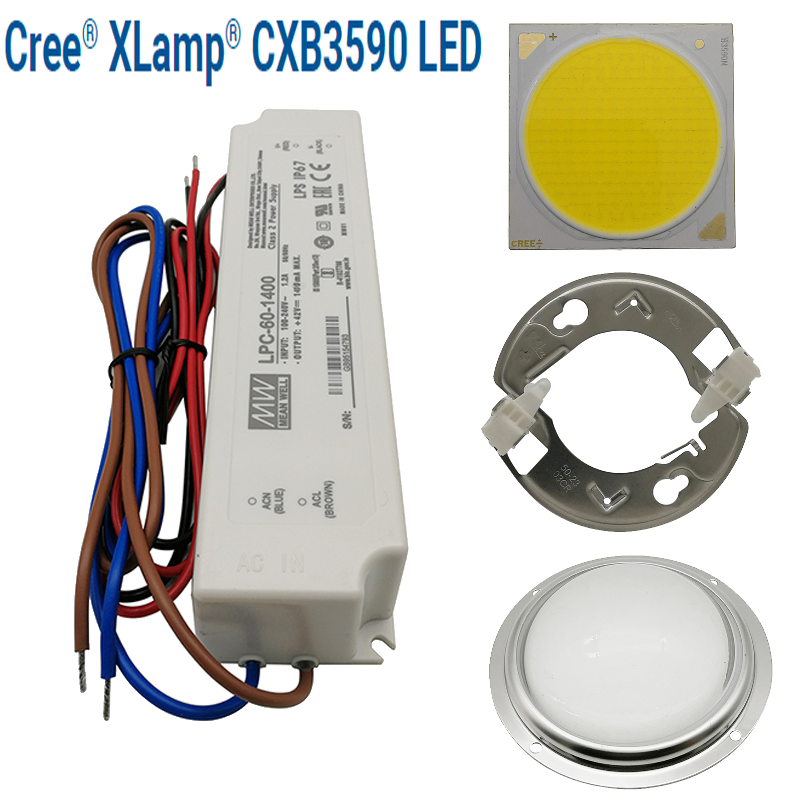 CREE CXB3590 COB LED Grow Light DIY Module LED Array Grow Lamp Indoor Plant Ideal Steel Holder MEANWELL Driver 100mm Glass Lens