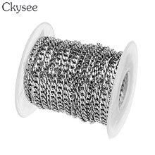 Ckysee Cadena de eslabones de acero inoxidable para hombre, Gargantilla, rollo de 10 yardas, 3/4/5mm de ancho, para fabricación de joyas