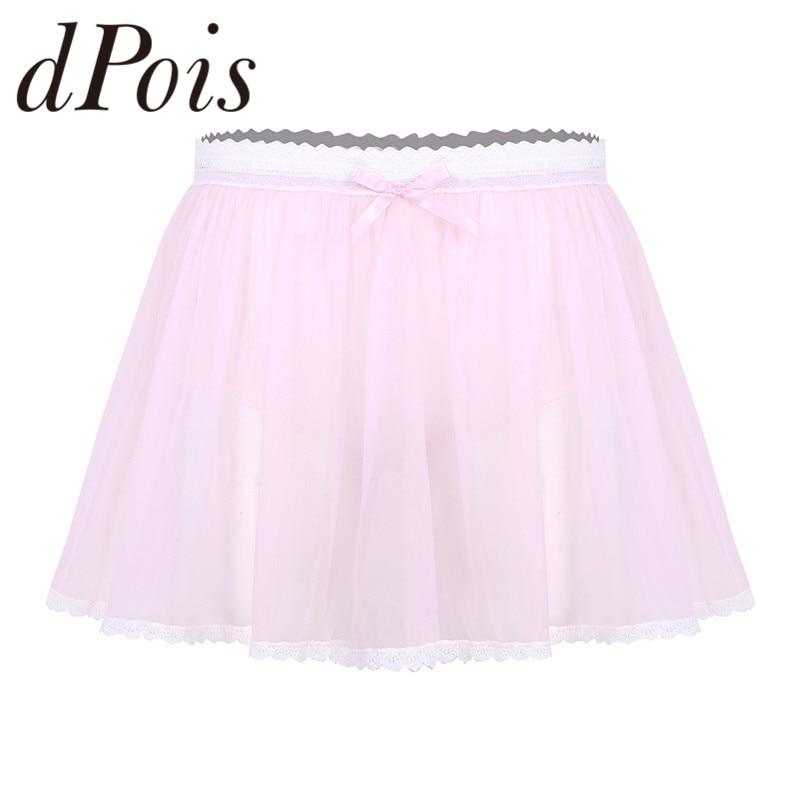 Men Adults Elastic Lace Waist See Through Sheer Ruffled Crossdress Short Skirt Panties Male Mens Briefs
