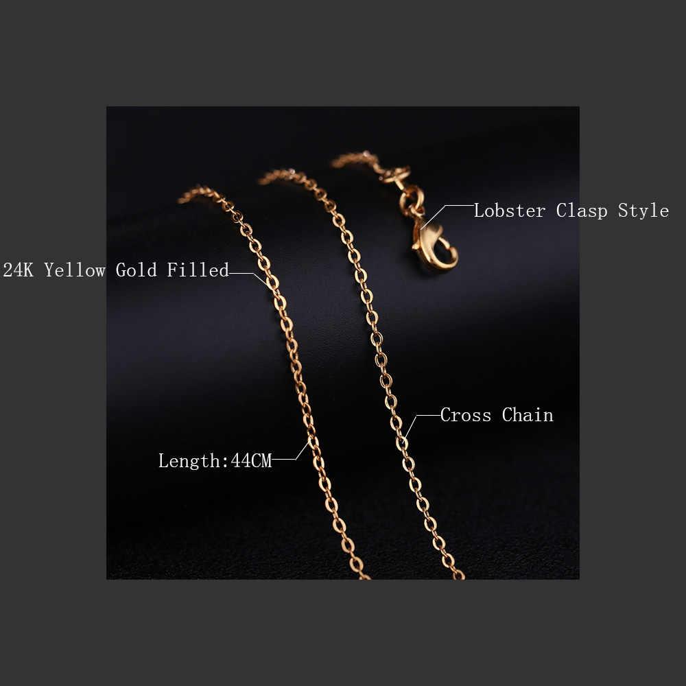 ST. kunkka DIY เชือกทองสีโซ่สร้อยคอสำหรับจี้ผู้หญิง Chokers COLLAR CROSS Link Chain 24K สีเหลืองทองเครื่องประดับ