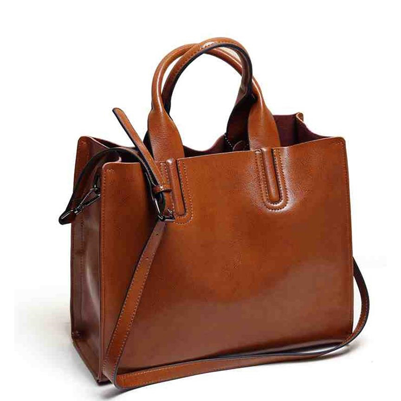 new women luxury bags designers handbags Women oil wax leather handbag Simple F