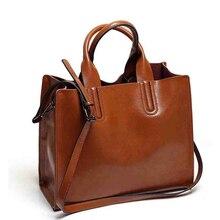 2016 new women luxury bags designers handbags Women oil wax leather handbag Simple Fashion Commuter tote bag shoulder bag bolsos