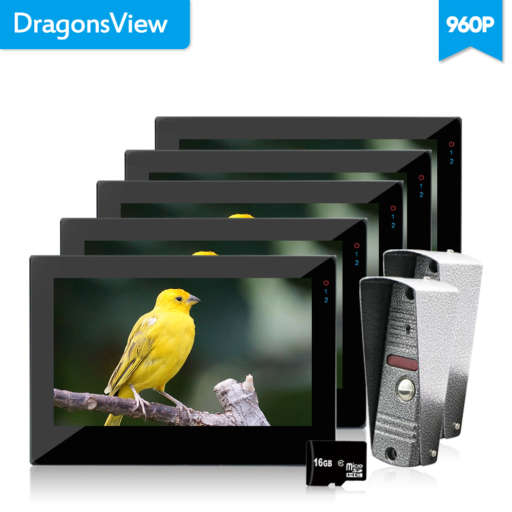 Dragonsview дюймов 7 дюймов видео дверной телефон 5 мониторов с записью дверной звонок Домофон с видео камерой IR светодио дный 960 P сенсорный экран