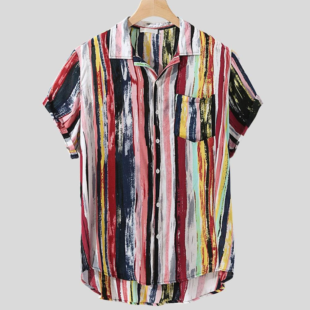 Men Shirt Multicolor Lump Chest Pocket Short Sleeve Round Hem Loose cotton Hawaiian Shirts Blouse High Quality Camisa Masculina Рубашка