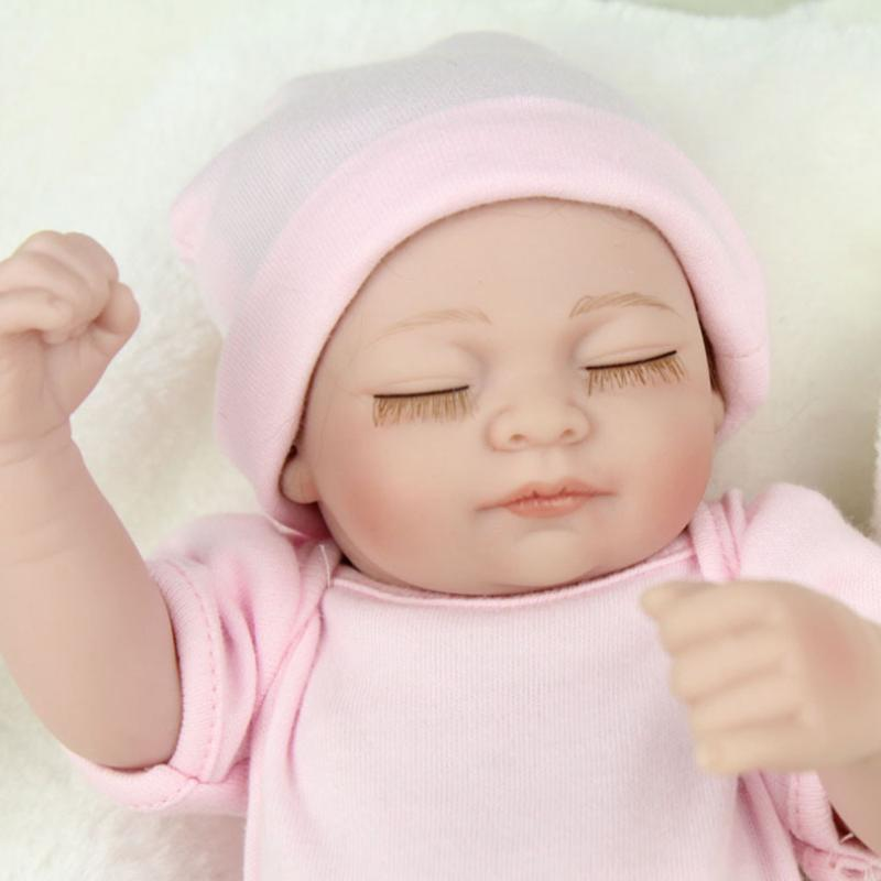 28cm Lovely Silicone Reborn Baby Dolls Lifelike Simulation Doll for Girls White Born Baby Sleeping Doll Kids Toys Birthday Gift