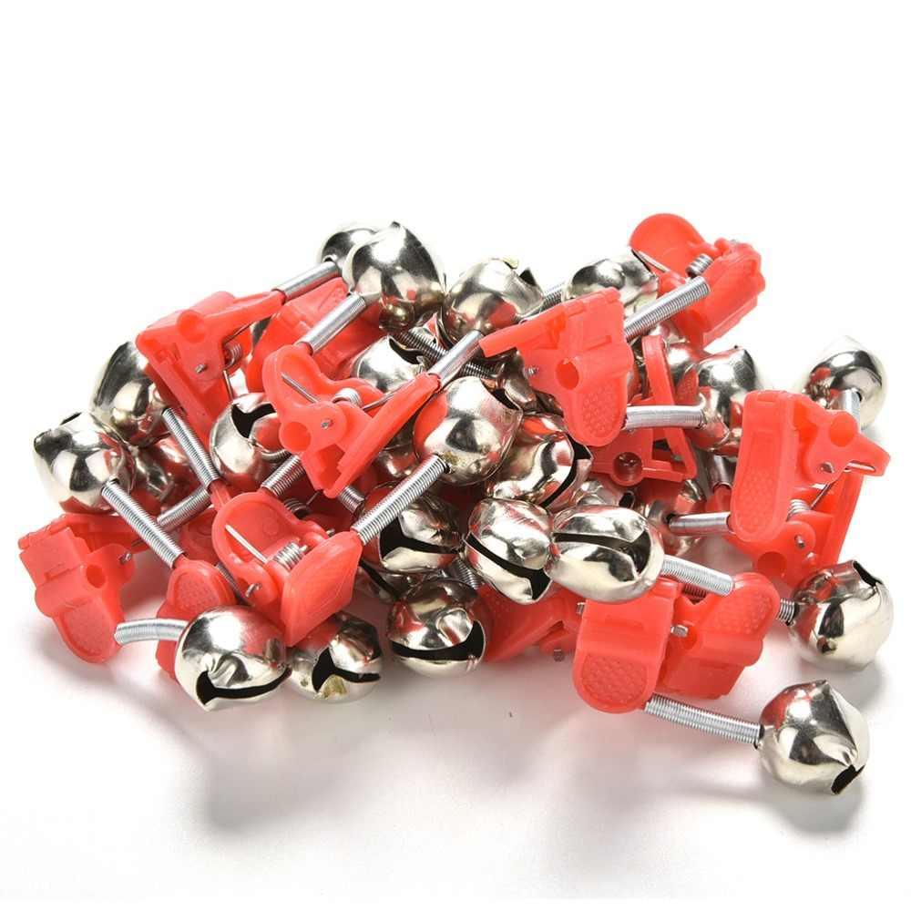 20 pièces offre spéciale rouge pêche en plastique Clip Double tige morsure alarme cloches de pêche anneau en gros