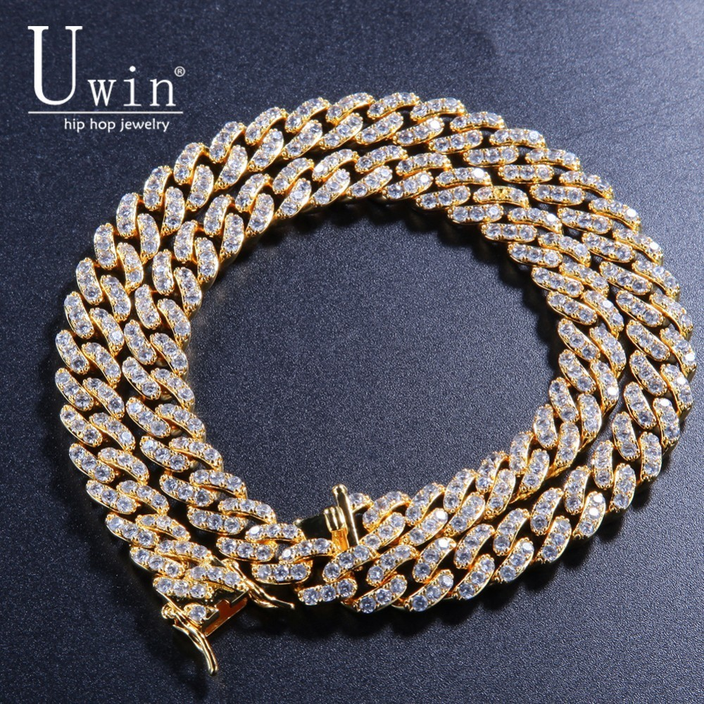 Uwin 9mm Iced Out Cuban Chian CZ Punk Choker Fashion Gold Color Necklace Men HipHop Jewelry For Gift