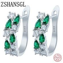 Wholesale Luxury 925 Sterling silver Earrings Flash Colorful CZ Zircon Ear Studs