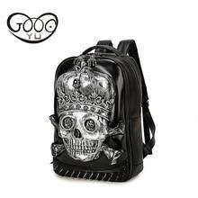 Shoulder bags 3d Dimensional Relief Skull head leather backpack Men Design of Corn Buckle Metal Clasp laptop backpack women trav