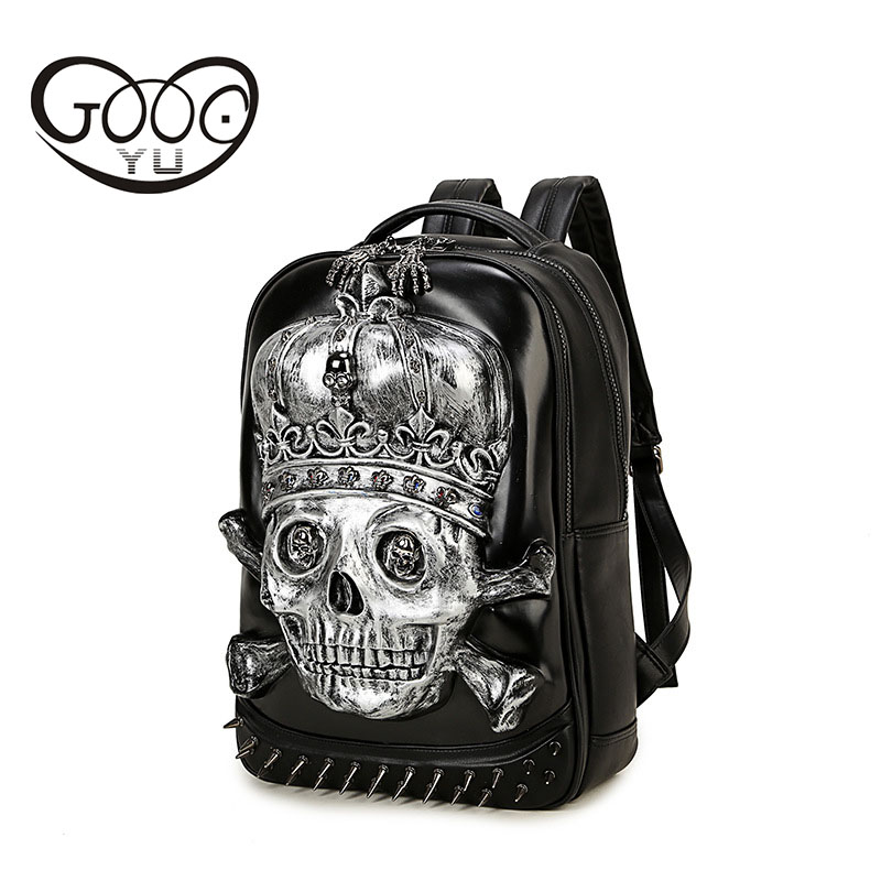 Shoulder bags 3d Dimensional Relief Skull head leather backpack Men Design of Corn Buckle Metal Clasp laptop backpack women travShoulder bags 3d Dimensional Relief Skull head leather backpack Men Design of Corn Buckle Metal Clasp laptop backpack women trav