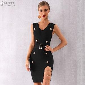 Image 3 - Adyce 2020 新夏の女性の黒包帯ドレスセクシーなディープv中空アウトサッシクラブドレスvestidosセレブイブニングパーティードレスドレス