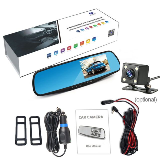 E-ACE Full HD 1080P samochód DVR Camera Auto 4,3 calowy lusterko wsteczne cyfrowy rejestrator wideo Dual Lens Registratory kamery