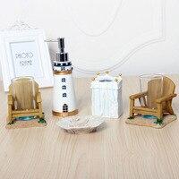 Fashion resin bathroom set of five pieces bathroom toiletries set cup brush toothbrush holder birthday wedding gift