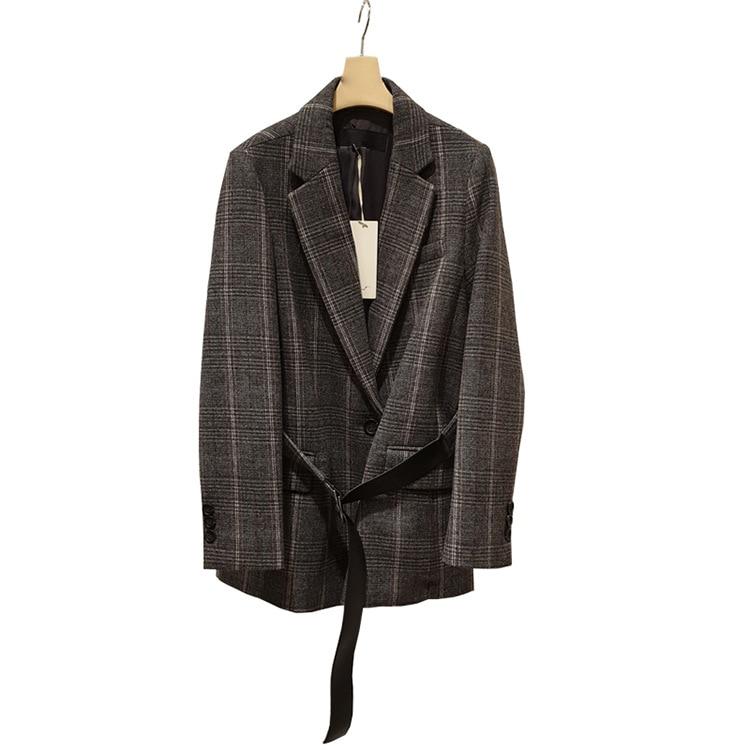 Duguge Coat Spring Autumn 2019 New Original Design Women's Wear Suit Collar Medium Long Tether Suit Women Clothes Jackets Coat