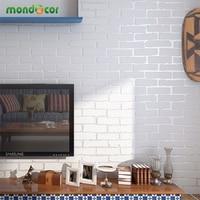 Mondecor Creamy White 3D Modern Designers Brick Wallpaper Home Decor Non Woven Wall Coverings For Living