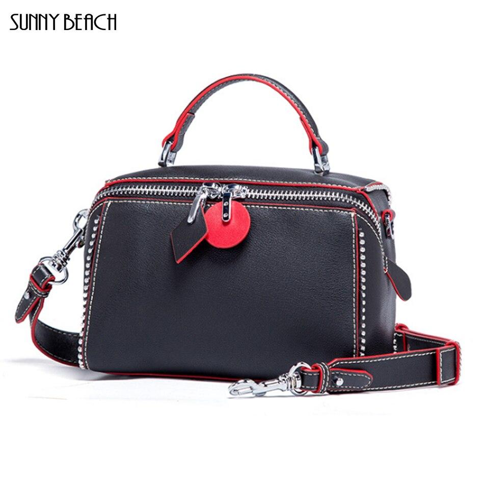 SUNNY BEACH Genuine Leather famous brands wome bags designer Double zipper shoulder bag Pillow bag zipper pillow 1pc
