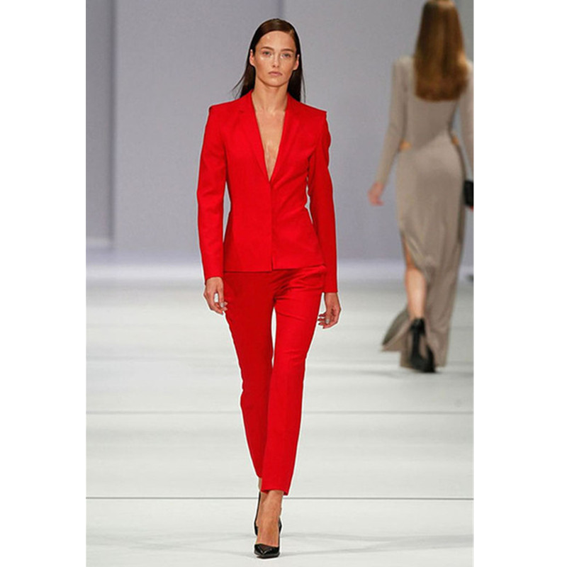 Custom Womens Trouser Suit Red OL Ladies Pant Suit Botched Formal Business Office Unifrom Work Wear Suits Female Suits New