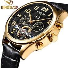 Binssaw original de lujo a estrenar tourbillon relojes mecánicos automáticos de los hombres relojes deportivos relojes de cuero del ocio de la manera