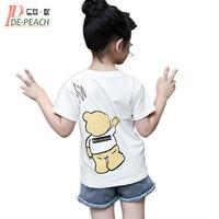 Girls Brand Cute t-shirt Summer Teens Girl Bear t Shirt Designs Cartoon Short sleeves white Casual T-shirts Mesh Tees Costume