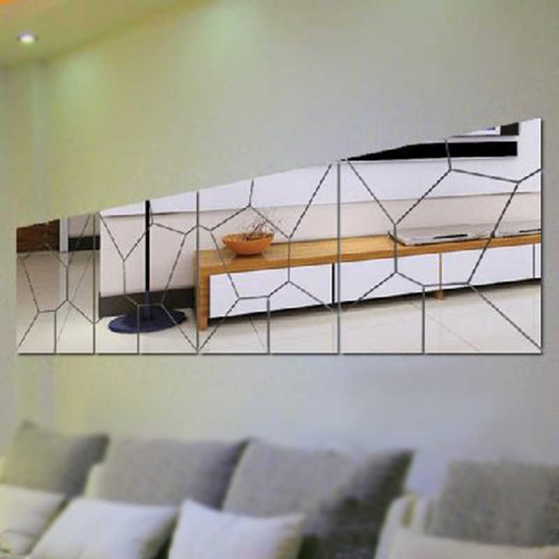 Silver 3D Mirror DIY Removable Wallpaper for TV Wall Solid Wall Stickers Wall Decal Living Room Home Decor IC677593