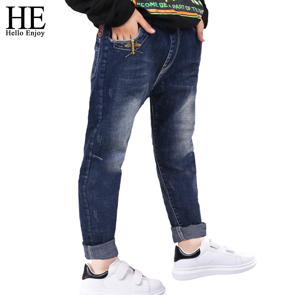 HE Hello Enjoy kids jeans for boys spring autumn 2017 brand new Casual Boys jeans Denim ripped pants teenagers children trousers