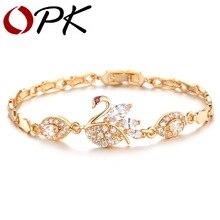 OPK Fashion Swan Women Bracelets Classical Gold Color Cubic
