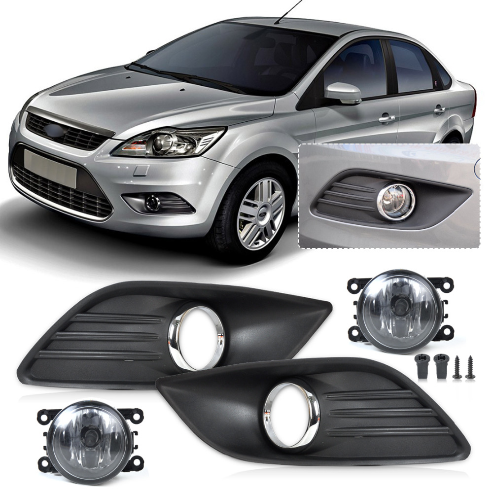 beler ABS plastic Black Front Lower Left Right Bumper Fog Light Grille Cover + Fog Lamp Kit for Ford Focus Sedan 4Door 2009-2011 1set front chrome housing clear lens driving bumper fog light lamp grille cover switch line kit for 2007 2009 toyota camry