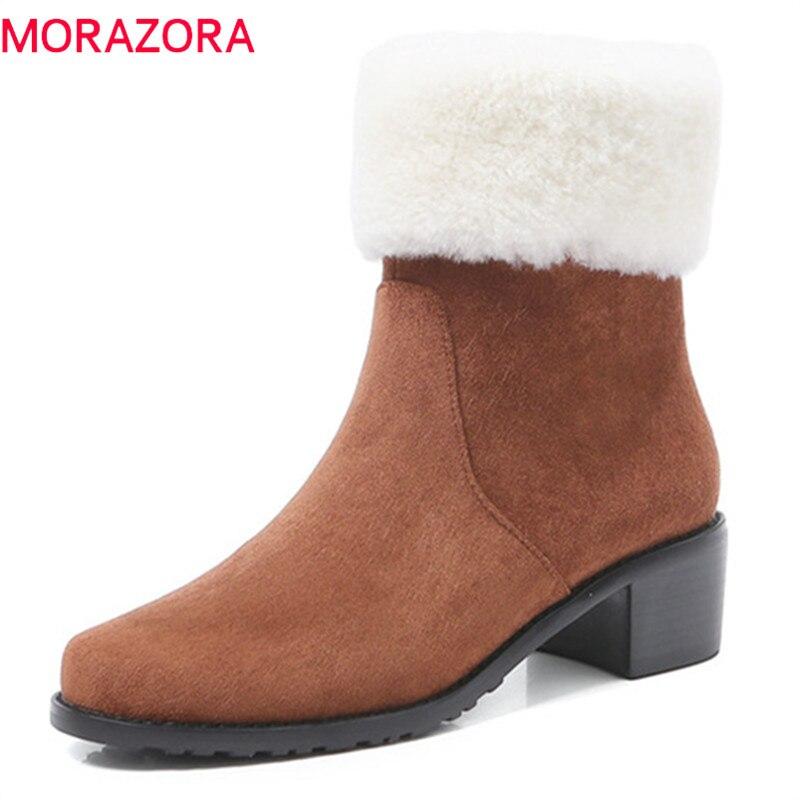Bout Mode De Zip Top Chaussures Morazora 2018 Dames chestnut Bottes Suédé Cheville Femme En Carrés Qualité Automne Hiver Noir Rond Talons Cuir qUzpjGMVLS