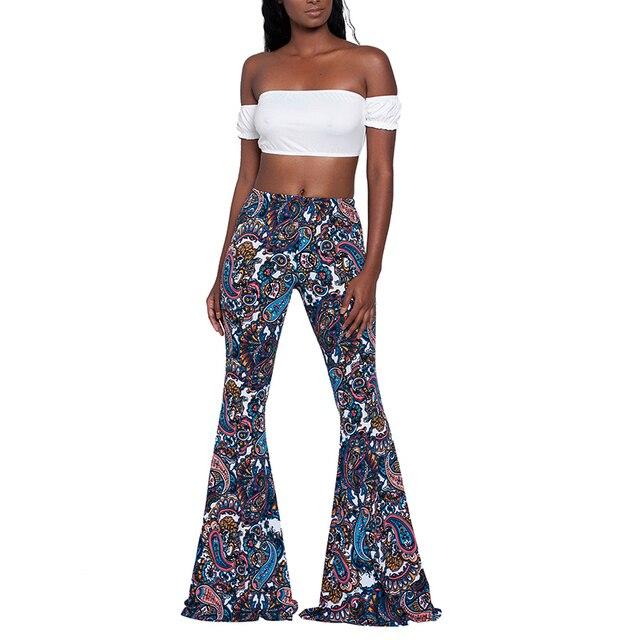 bdbebfdbbf4 plus size women vintage pants 2018 summer Boho Hippie High Waist Printed Wide  Leg Long Flared Bell Bottom Pants