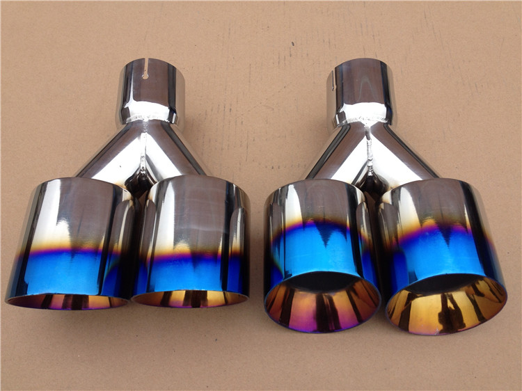 New Super Quality Stainless Steel 1 to 2 Dual Pipe Exhaust System Silver Blue Muffler Universal