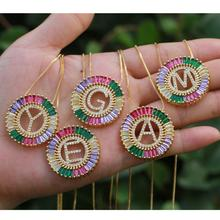 2019 Hot Sale 26 Letter Pendant With CZ Settings A to Z Colorful Charms For DIY Jewelry,  Delicate Feminine Necklace