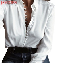 2017 Women Casual Solid Long Sleeves Blouse Lapel Shirt   L519