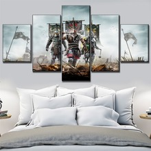 5 Pieces Canvas Art HD Print Game For Honor Warrior Paintings Modern Living Room Wall Decoration Modular Unqie Artwork