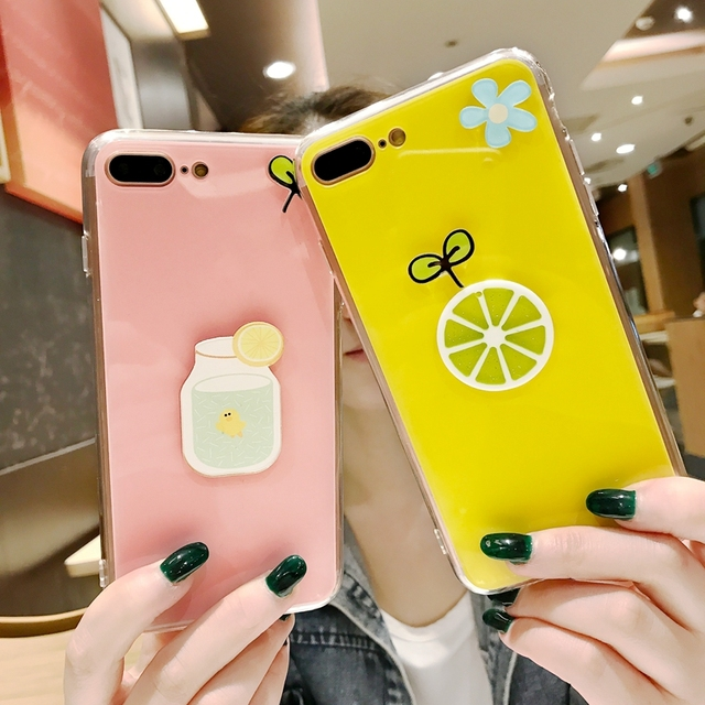 a570e84e81 For iPhone 7 8 Plus Case Korean Fashion Glossy Candy Duck Flower Lemon Back  Cover For iPhone 6 6S Plus 7 Plus For iPhone 8 Plus