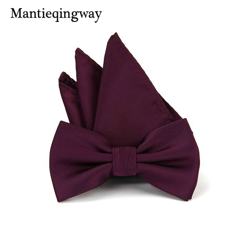 Mantieqingway Men's Polyamide Yarns Bowtie Floral Handkerchiefs Bow Tie Set Solild Pocket Square Chest Towel Bow Ties Wedding