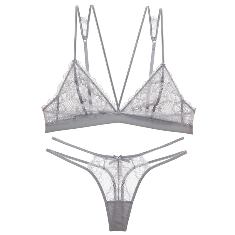 Sexy lace ultra thin type underwear bra set belt triangle cup without steel ring T - style trousers without sponge