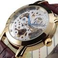 Classic Gold Stylish Skeleton Hollow Fashion Mechanical Men Luxury Diamond Male Business Leather Strap Blue Pointer Wrist Watch
