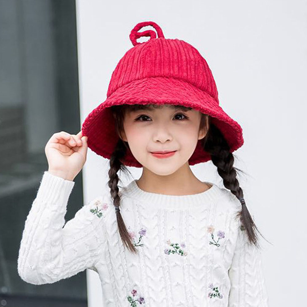New Cute Children Corduroy Bucket Hat Autumn Winter Warm Comfortable Solid Color Kids Cap Casual Fishermen Hat For Boys Girls