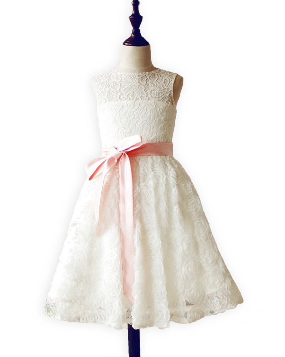 ФОТО Stunning Junior Bridesmaid Vestidos de Communion Flush Pink Sash Lace Rosette Sweet Heart Keyhole Baptism Flower Girl Dress 2017