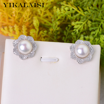 445bc87402bd YIKALAISI 925 Natural de plata esterlina pendientes de perlas de agua dulce  de la joyería para las mujeres 8-9mm tamaño de la perla blanco rosa púrpura  ...