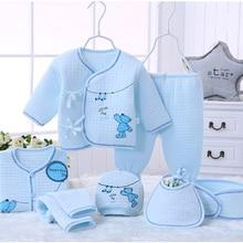 7 teile / satz 100% Baumwolle Warm Halten Material Neugeborene Baby Kleidung Komplette Kits Für Kinder Baumwolle Material Baby Kleidung Jungen Mädchen Neugeborenen