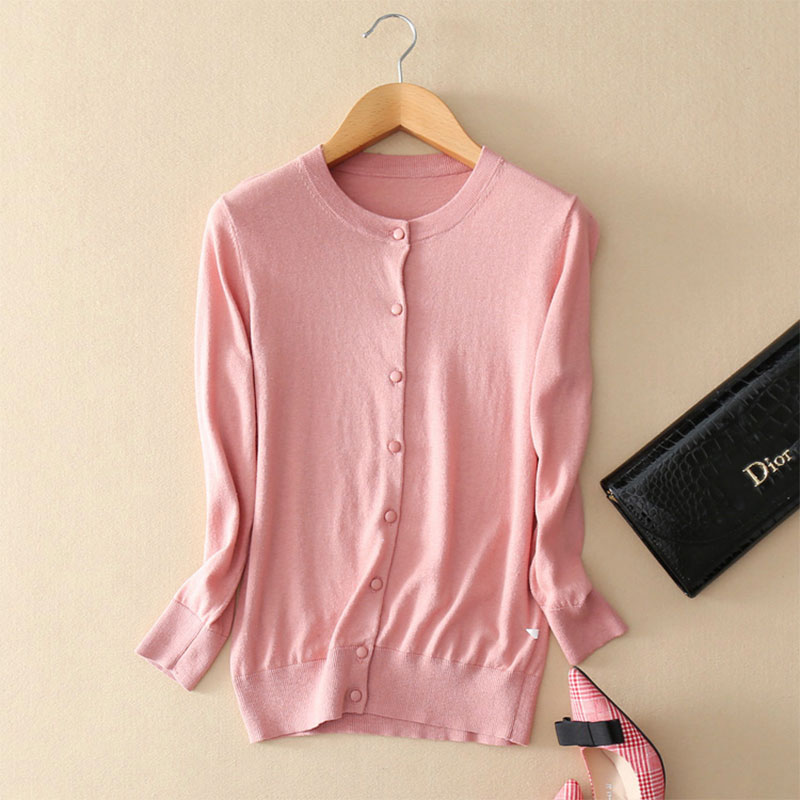 Button Cardigan Women Long Sleeves 2019 Spring Summer Cardigan Coats Women Crew Neck Casual 100 Cotton