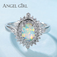 Angel Girl 925 Sterling Silver Jewelry Luxury Oval Opal Rings With Cubic Zircon Crystal S925 Solid