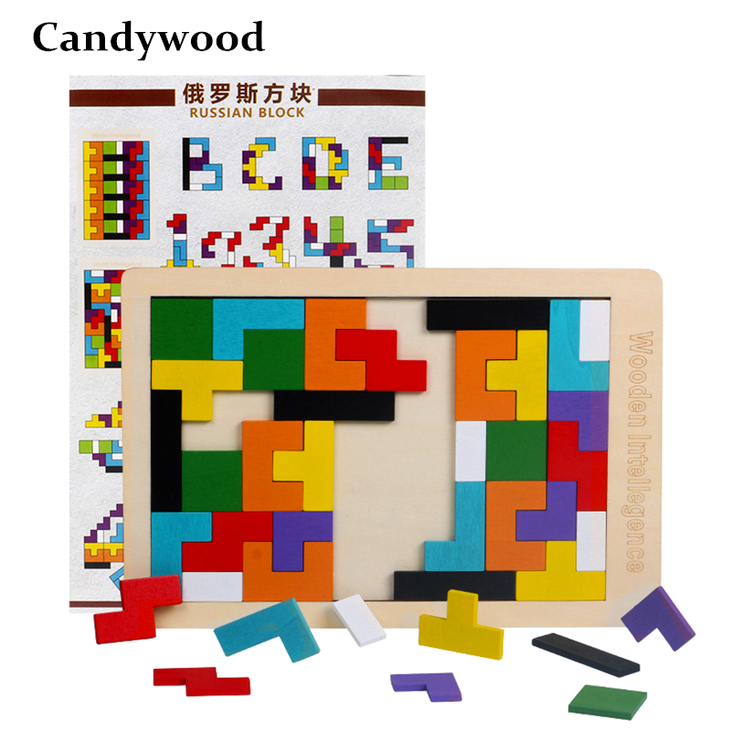 Baby Wooden Toy Tetris Puzzles Colorful Tangram Jigsaw Board Kids Children Magination Intellectual Educational Toys For Children